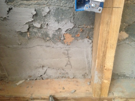 kitchen East wall mortar repair 1