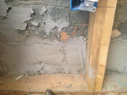 kitchen East wall mortar repair 1