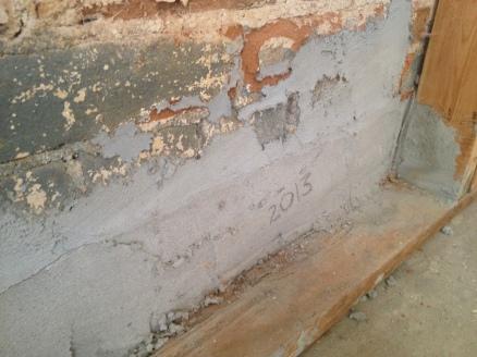 kitchen East wall mortar repair