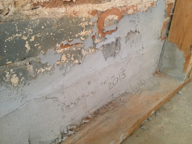 kitchen East wall mortar repair