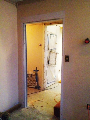 """the now 40""""+ wall opening where the door once was."""